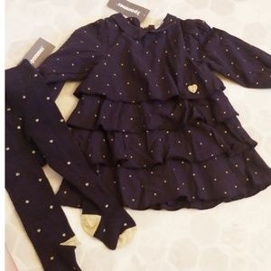 3POMMES navy & gold dress set